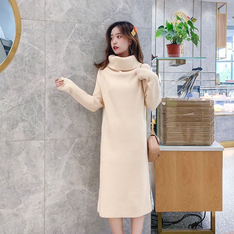 Double layer high collar wool dress womens mid long fall / winter 2019 new Pullover thickened loose thin white bottomed shirt