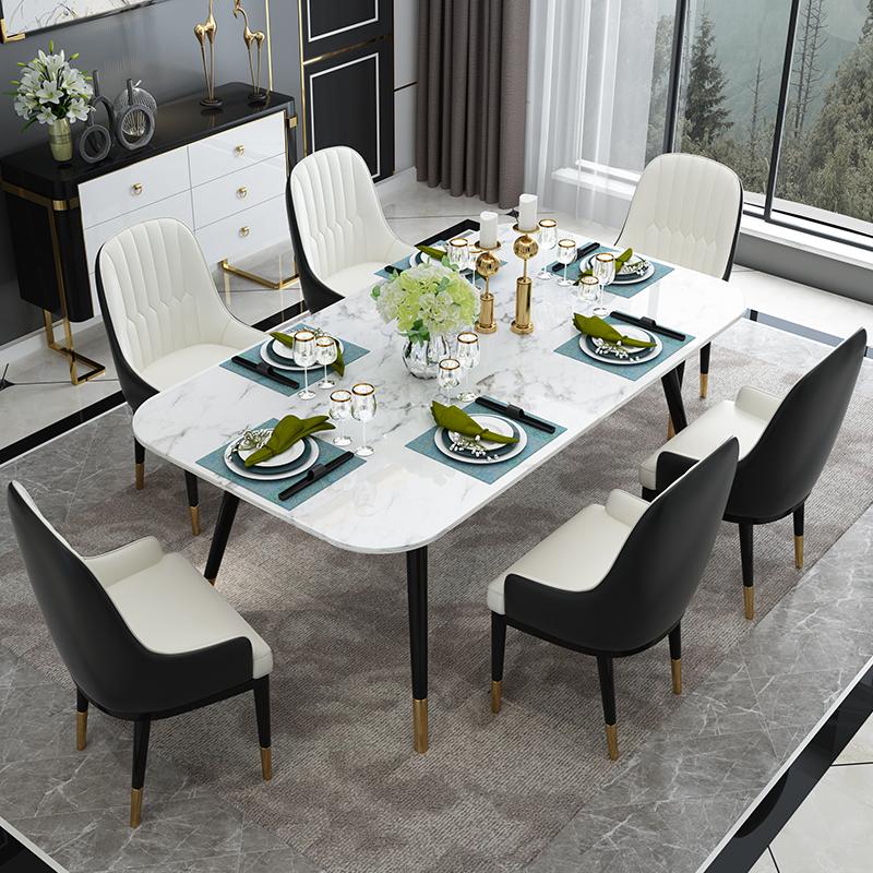 意式轻奢长方形大理石餐桌椅组合 中小户型简约餐厅实木脚吃饭桌