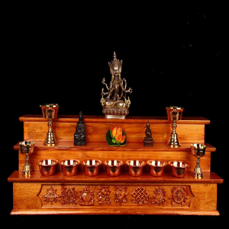 Тибетский сплошной лес восемь сокровищ, высекая Будду Тайвань Тибетский буддизм благоприятные восемь сокровищ три сплошного дерева для стола Буддийский храм дань таблицы