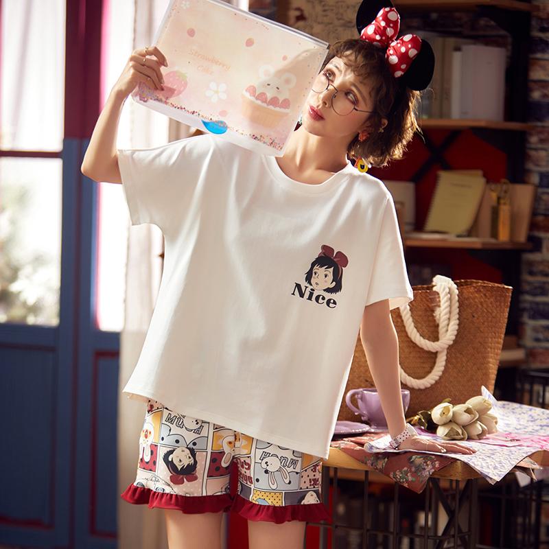 睡衣女夏2020新款流行可爱日系纯棉短袖卡通女孩家居服女夏中裤