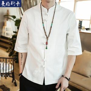 夏季男士薄款棉麻五分袖唐装中国风盘扣汉服立领亚麻衬衫男中山装