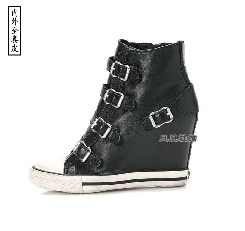 European station heightening four button high top single shoes black cowhide high slope leisure sports Leather Handmade small womens shoes