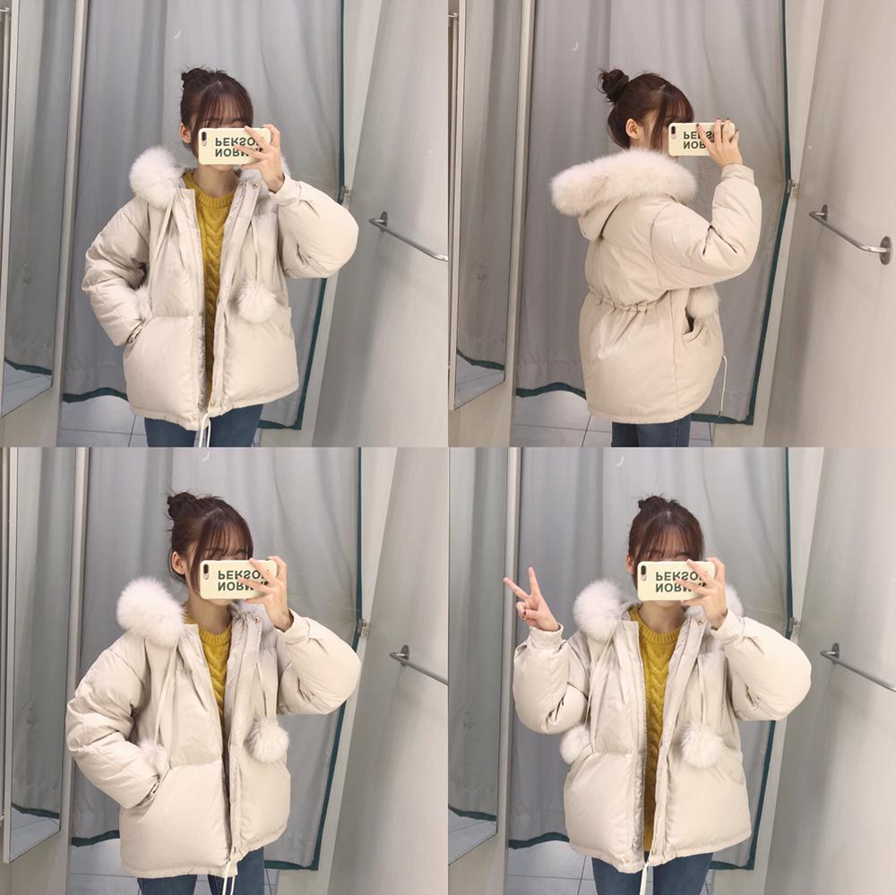 糖安妮 高档狐狸毛毛球90白鸭绒短款羽绒服女精品冬加厚保暖外套