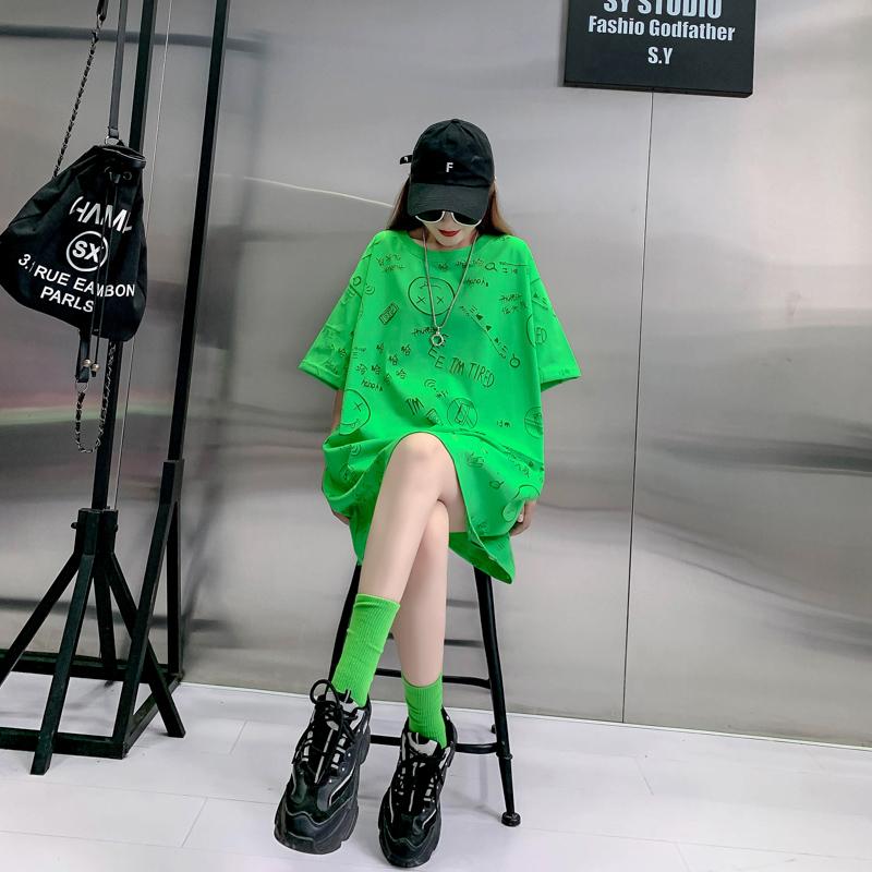 网纱镂空2021年新款中长款网红短袖t恤女士宽松夏装韩版衣服潮