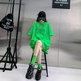 网纱镂空2020年新款中长款网红短袖t恤女士宽松夏装韩版衣服潮