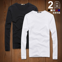 2 pieces) Modell long sleeve T-shirt men plus Velvet bottom shirt pure color autumn clothes cotton thickening warm underwear winter