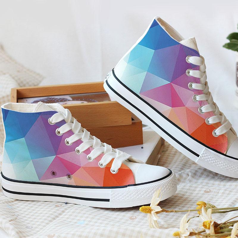 YOVCA秋季帆布鞋女鞋韩版几何小白鞋系带学生鞋童鞋情侣休闲鞋