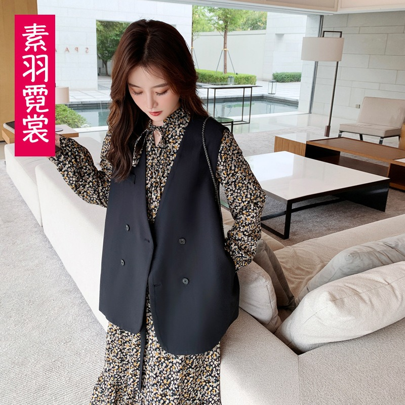 Spring new suit waistcoat womens spring autumn casual black loose sleeveless jacket with vest