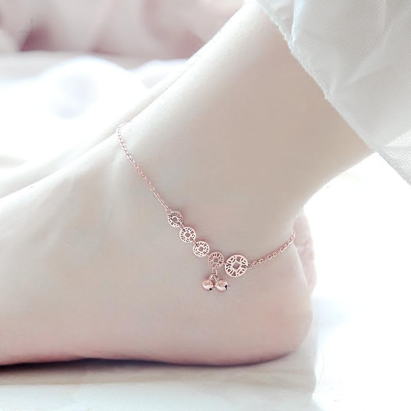 洗澡不用取韩版包18K玫瑰金钱币铃铛脚链女彩金闺蜜网红刻字礼物