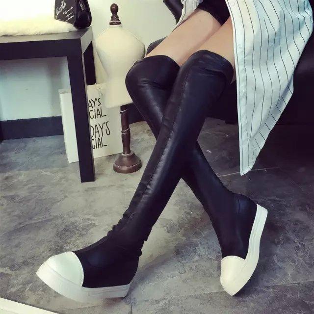 2016 сезон новые ботинки плоские тонкие ноги сапоги мода осень/зима женщин вскользь над колено сапоги женские стрейч кожаные сапоги