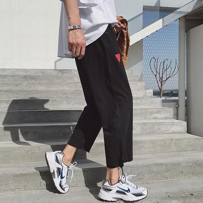 K92-P50夏季薄款休闲裤子男运动裤宽松束脚裤加肥大码裤子M-5XL