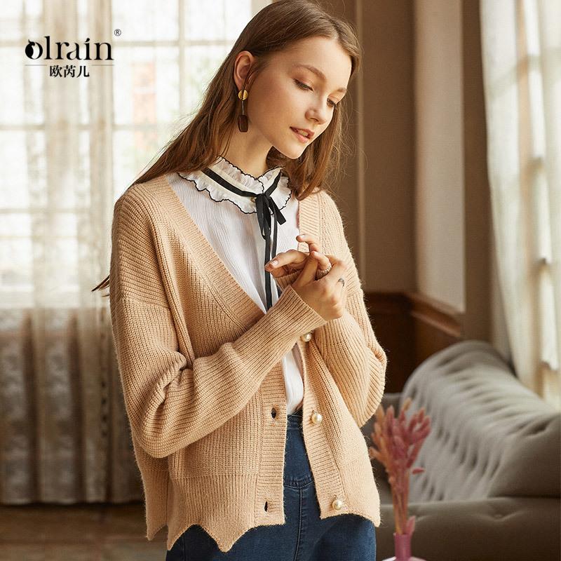 【新品191元】2018秋装女装开衫毛衣短款宽松显瘦长袖针织衫外套