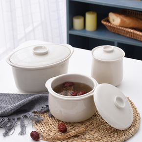 陶瓷白瓷大小内胆带盖子隔水炖盅燕窝家用汤盅炖罐甜品盅双耳汤盅
