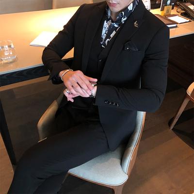 A321/321#绅士经典时尚修身挺括男士单扣黑色西装三件套P280控350