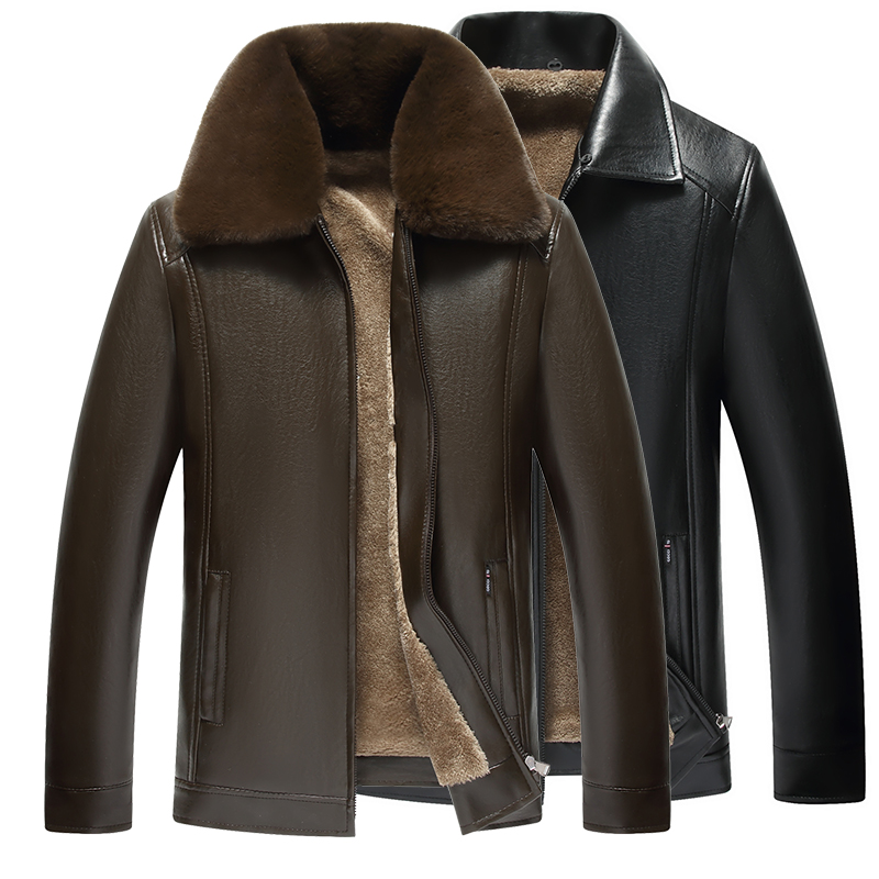Autumn and winter middle-aged and old peoples fur one piece leather jacket with plush and thickened dads large loose leather coat for men