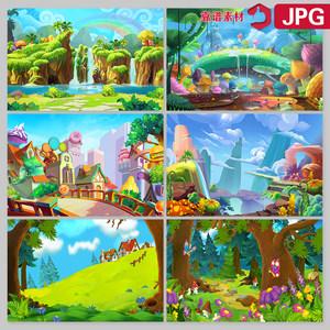 树林山脉城堡乐园手绘风景插画卡通树林舞台背景高清图片设计素材