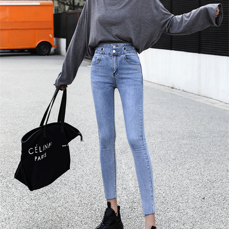 High waist elastic small foot 9-point jeans womens 2021 spring autumn Korean light color skinny tight pencil 9-point pants