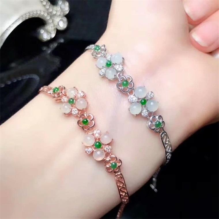 Luxury S925 silver plated 18K gold inlaid natural a jade bracelet real silver gem bracelet goddess gift YH