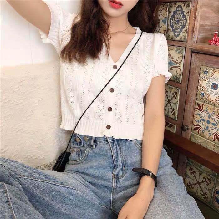 Womens super fire short sleeve T-shirt cardigan Korean hollow thin T-shirt retro Hong Kong style top summer