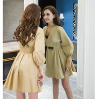 6301#实拍秋季新款时尚气质宽松七分袖中长款薄款风衣显瘦连衣裙