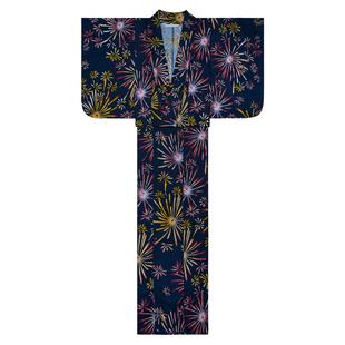 山鳥和色全棉正式和服日式和風浴衣復古少女連衣裙 夏日煙火