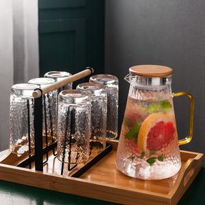 家用玻璃水具套装简约北欧冷水壶耐热锤纹玻璃杯6只装带托盘杯架