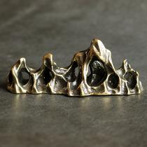 实心纯黄铜办公桌面假山小摆件古铜茶宠饰品工艺品礼品手把玩件