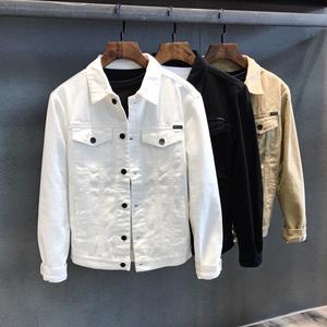 春秋休闲短款白色牛仔夹克男装上衣韩版潮流休闲工装牛仔外套男士