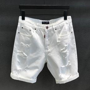 潮牌白色破洞牛仔裤短裤男士直筒韩版潮流马裤五分裤夏季休闲中裤
