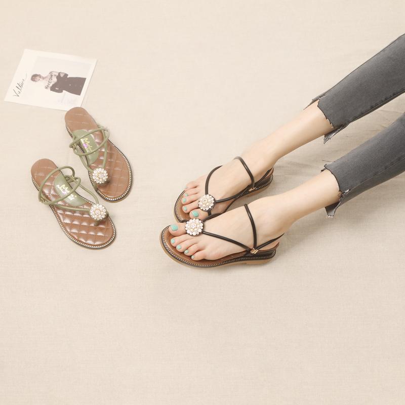 2019夏季新款一鞋两穿女士凉鞋女坡跟平底学生百搭配仙女裙的鞋子