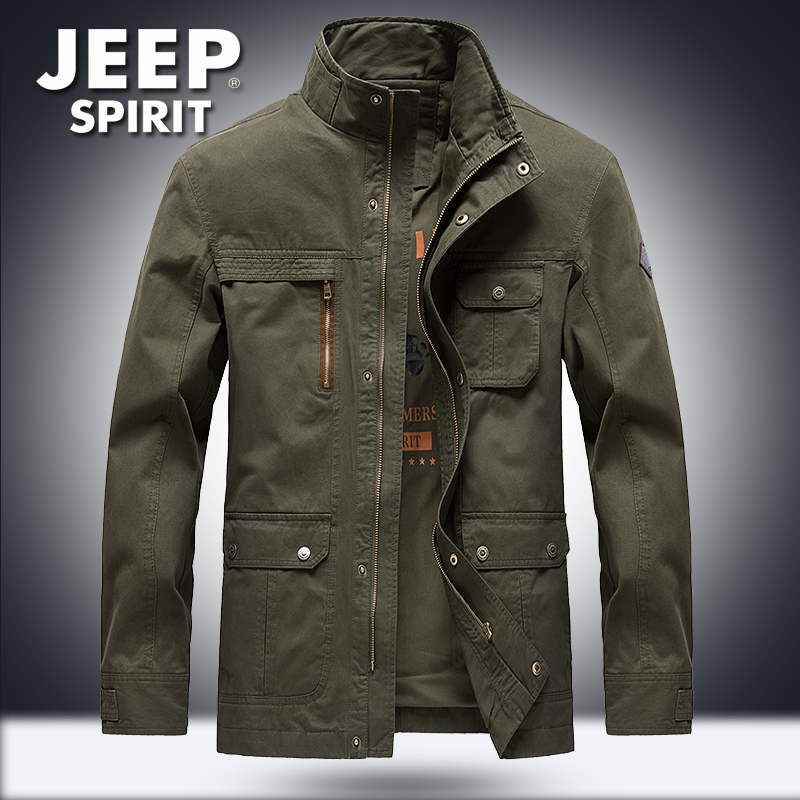 Spring and autumn Jeep jacket mens Jeep mid long standing collar cotton jacket plus size business casual middle aged coat