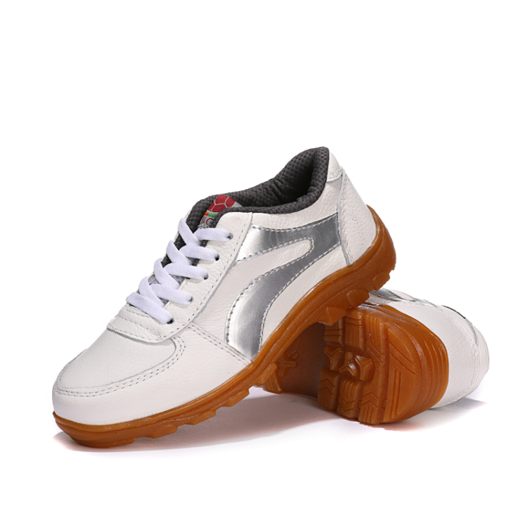 Leather spring and autumn mens and womens sports leisure running shoes ox tendon sole comfortable outdoor single leather shoes breathable travel white shoes
