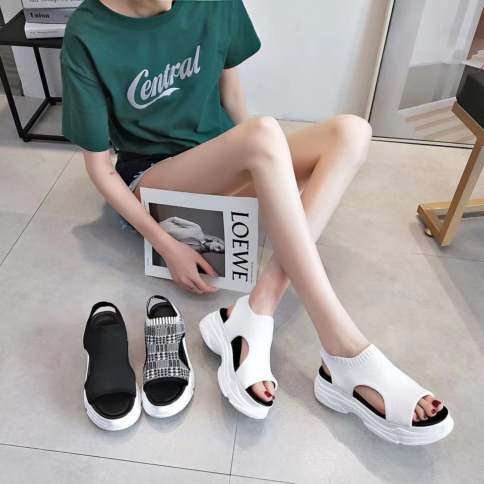 2019 net red sandals womens fashion high heels sexy thick soled Roman shoes womens sports knitting shoes muffin shoes women