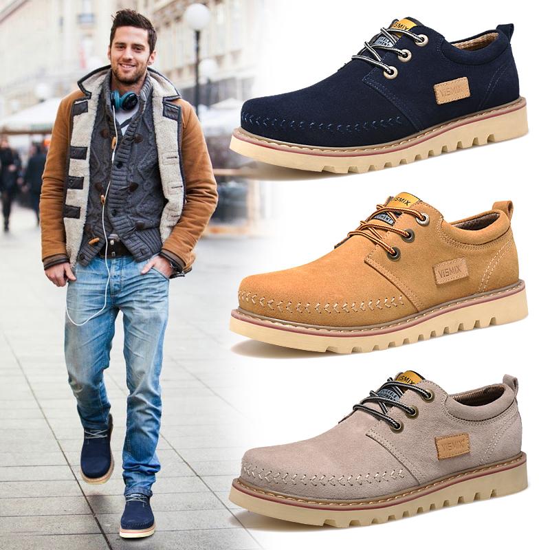 VISMIX冬季新款男鞋工装鞋男低帮男士休闲鞋英伦大头皮鞋大码潮鞋