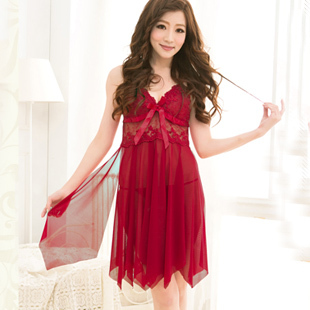 f8c4e7405ec7 Hot pajamas Mini wine red nightgown to live in a comfortable soft ...