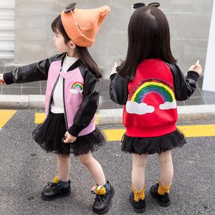 男女童皮衣秋冬装宝宝外套女2019新款韩版PU皮夹克加绒加厚洋气衣