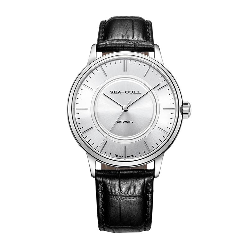 商务休闲819.12.6013海鸥手表纤薄男士皮带全自动机械表国产腕表