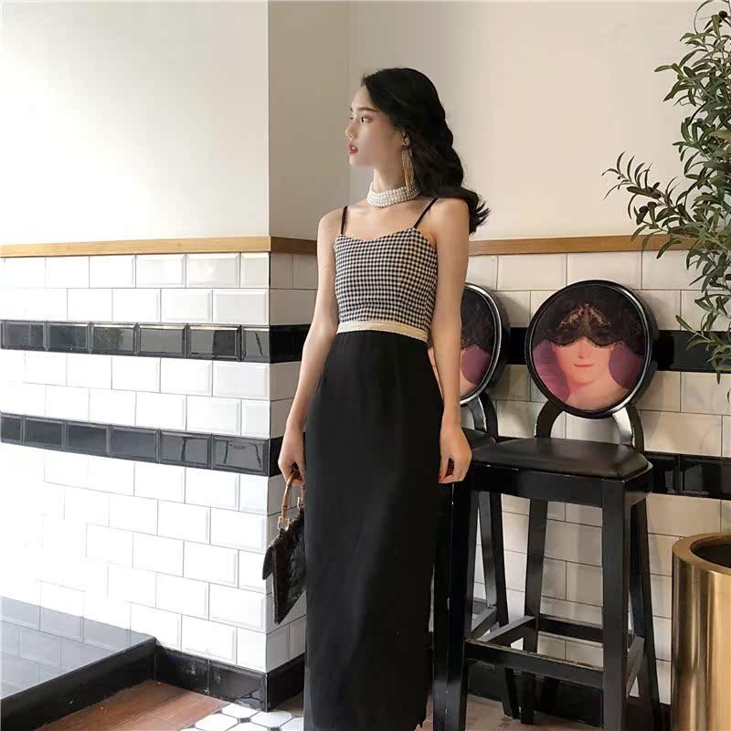 港妹潮人馆~韩国复古风修身显瘦吊带抹胸开叉中长款连衣裙女夏季