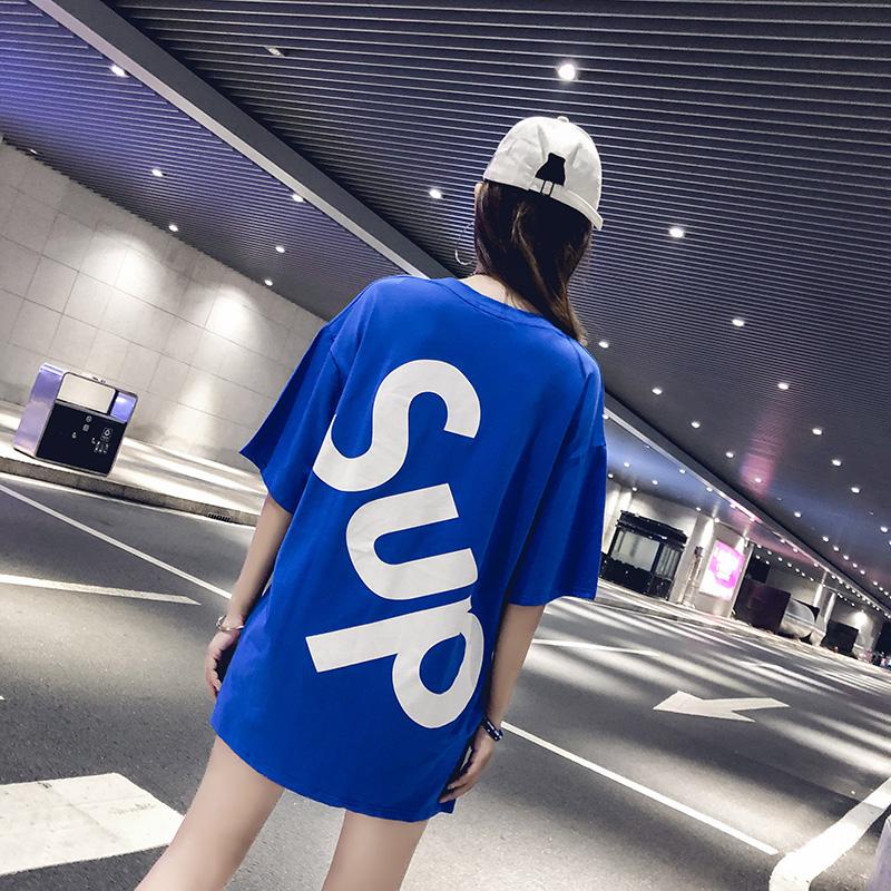 中长款蓝色宽松大t恤女短袖2018新款韩版下半身失踪风上衣ins嘻哈