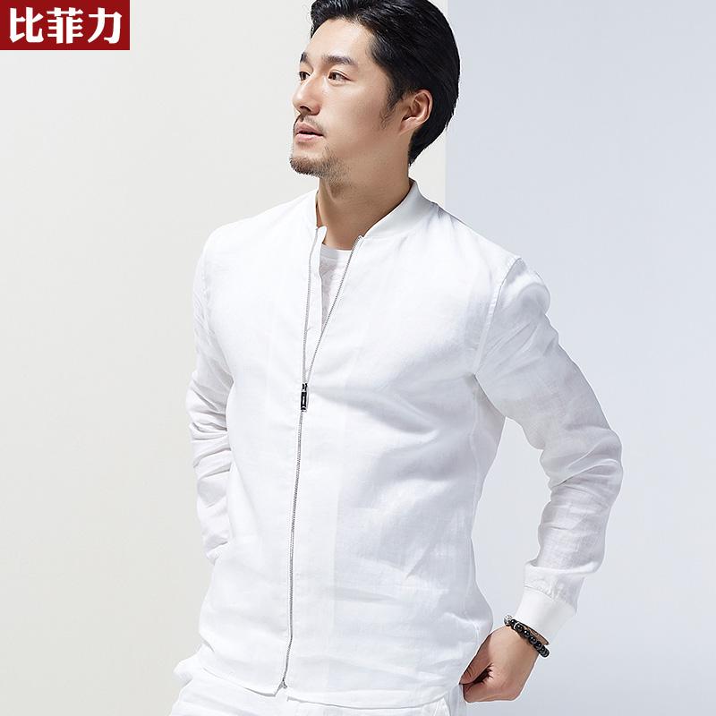 比菲力2018夏季新款薄款夹克男苎麻上衣外套春夏男装青年潮jacket