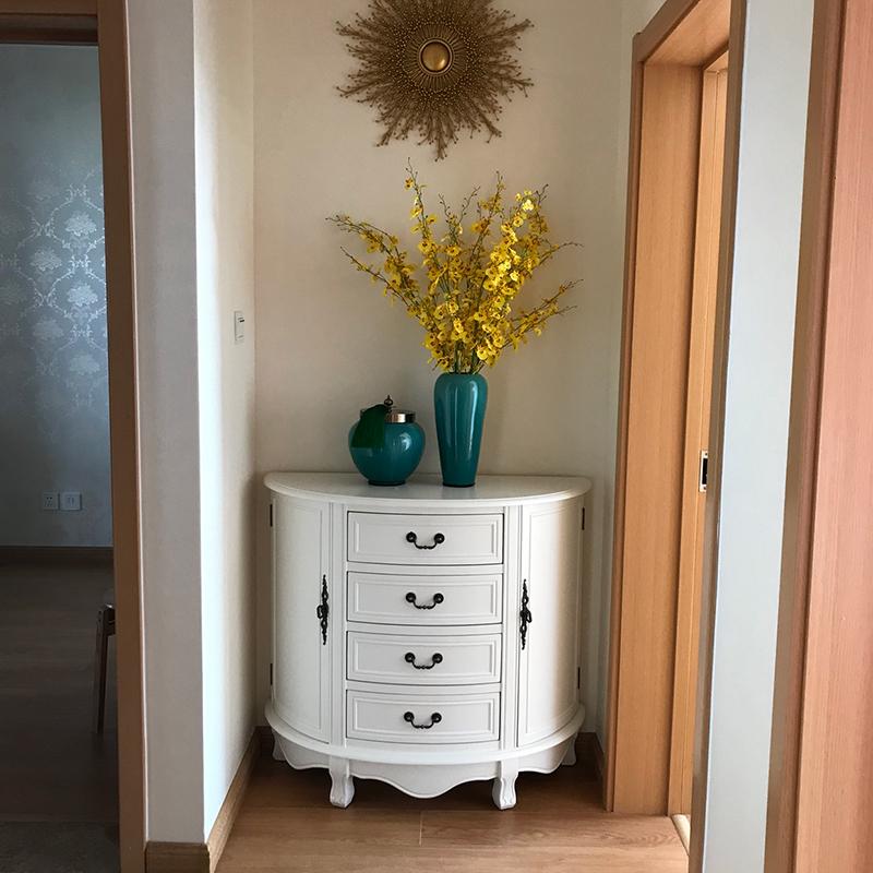 美式入户玄关柜现代简约酒柜靠墙屏风隔断客厅彩绘走廊柜实木斗柜