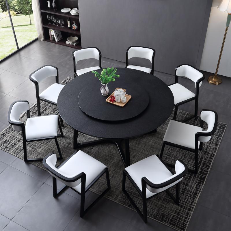 圆桌大理石圆桌现代简约 火烧石新中式圆餐桌椅组合 带转盘