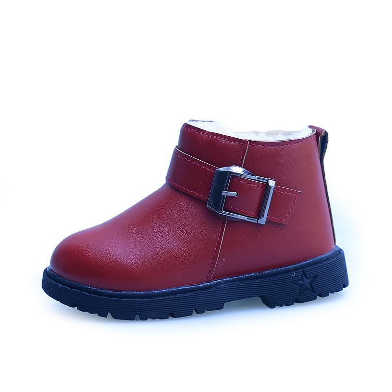 童鞋女童靴子 2016 加絨雪地男童短靴兒童保暖馬丁靴棉靴