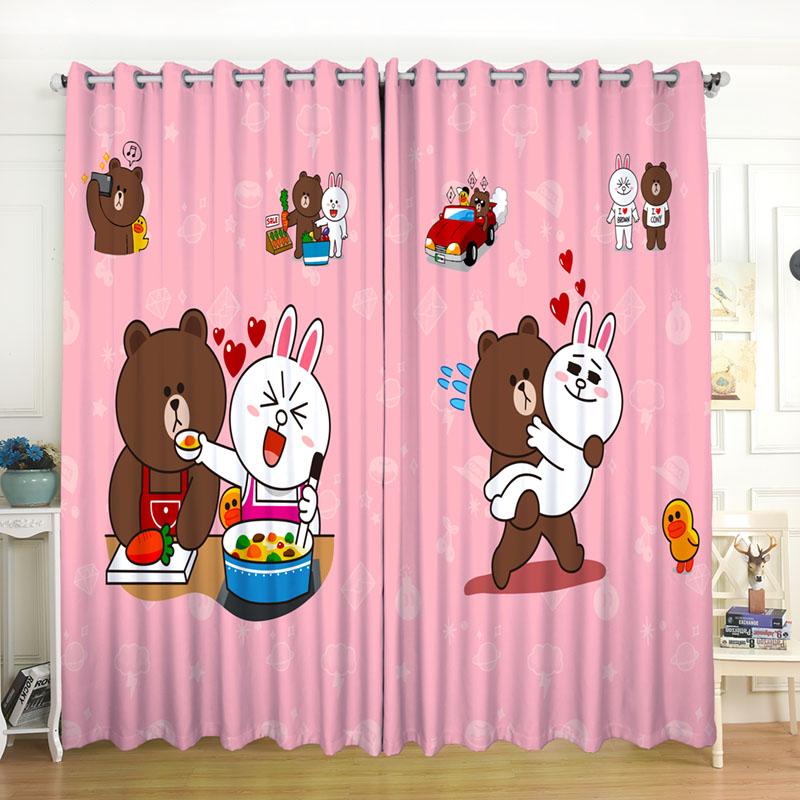 新品冰布朗熊卡通男孩女孩儿童公主房主题窗帘卧室飘窗落地遮光布