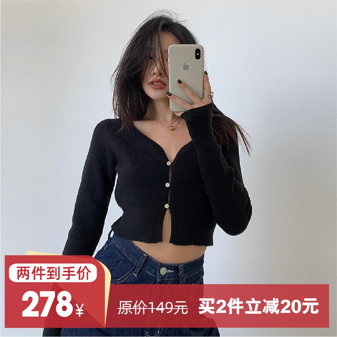 左边女装短款法式修身上衣女针织衫2021春季新款V领开衫 多色可选