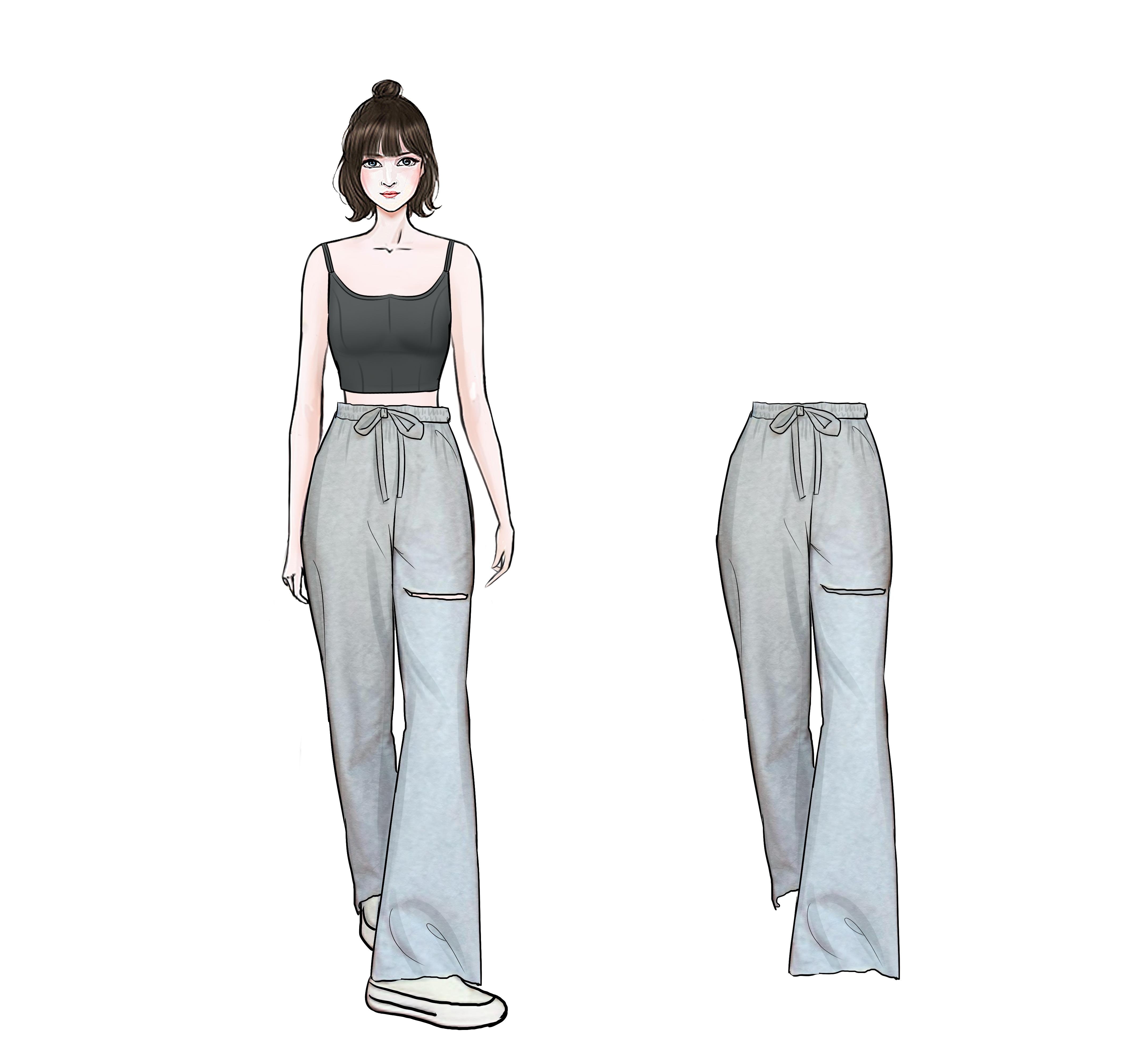 珊珊  2020夏季新款运动风破洞运动裤女简约显瘦薄款休闲裤子