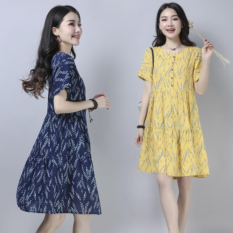 夏季新品复古女士中长款短袖连衣裙百搭大码宽松显瘦碎花裙休闲裙