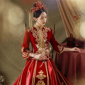 丝绒秀禾服2021新款春夏结婚新娘礼服女婚纱中式嫁衣中国风秀和服