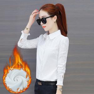 加绒保暖白色纯棉方领衬衫女长袖2018秋冬新款上衣衬衣打底衫