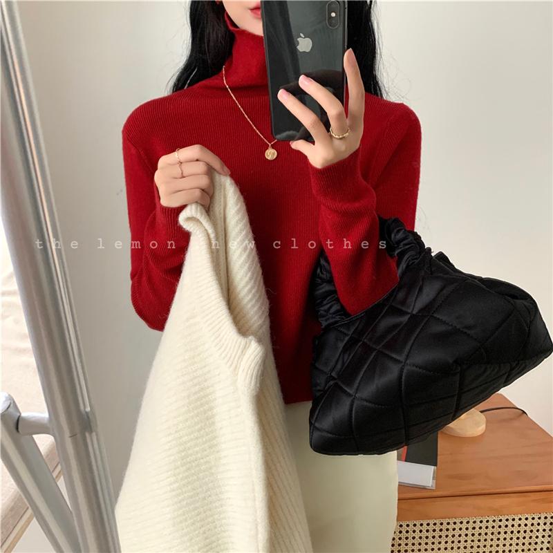 THE LEMON 韩版堆堆领打底针织衫女2020秋冬气质显瘦百搭长袖毛衣